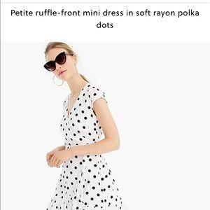 J Crew 8p mini dress in soft rayon polka dots